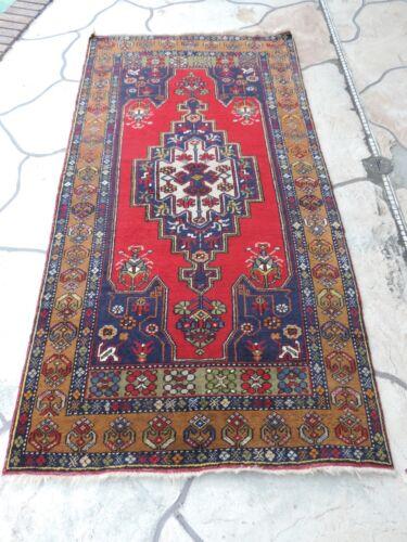 4x7ft. Vintage Turkish Yamyali Geometric Wool Rug