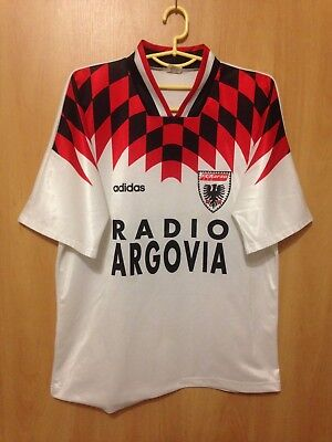 AARAU SWITZERLAND 1994/1995 HOME FOOTBALL SHIRT JERSEY SIGNED TRIKOT ADIDAS image