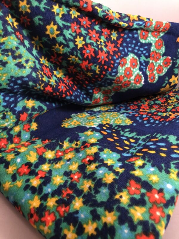 """True Vintage 60's Mid Century Blue Floral Pattern Upholstery Fabric 48"""" X 56"""""""