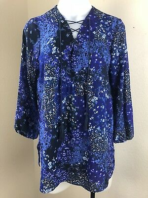 Tahari Floral Lace Up Tassel Blouse Elastic 3/4 Sleeves Purple Top