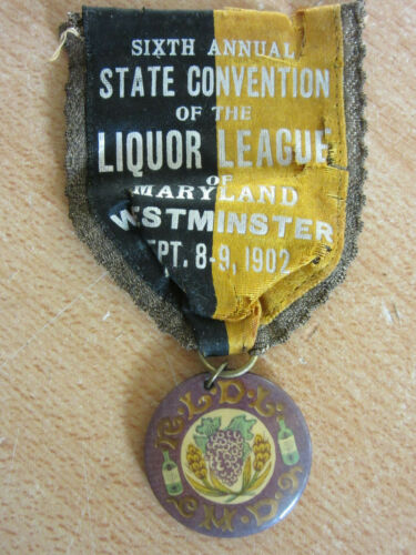 1902 6th Annual State Convention of Liquor League of Maryland Ribbon Button