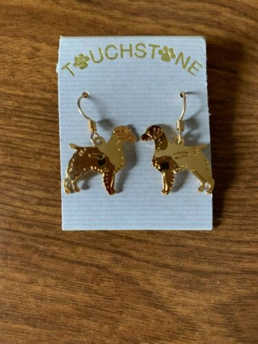 Brittany Spaniel Dog Jewelry Gold Dangle Earrings by Touchstone