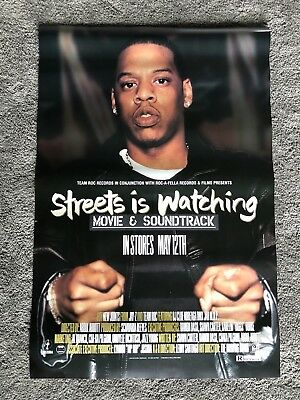 """RARE! ORIGINAL VINTAGE Jay Z """"Streets Is Watching"""" Soundtrack POSTER CD 1998"""
