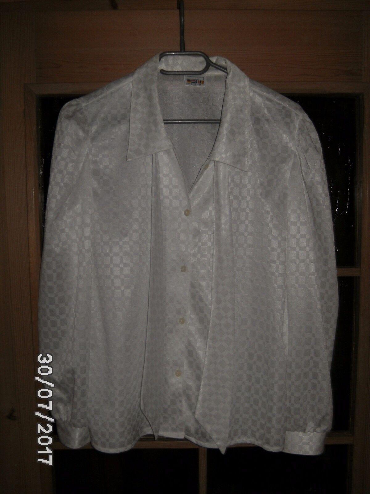Bluse elegant langarm weiß glänzender Stoff für Damen Gr. 38