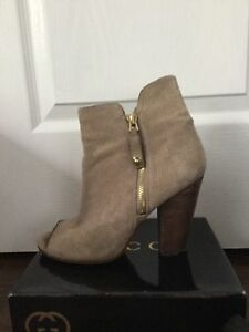 GUESS Beige Perforated Block Heel Suede Booties sz. 8.5/38.5