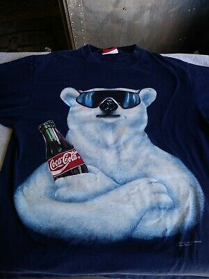 Vintage 1994 Coca Cola Polar Bear with Sunglass Coke T Shirt Size XL Made In USA