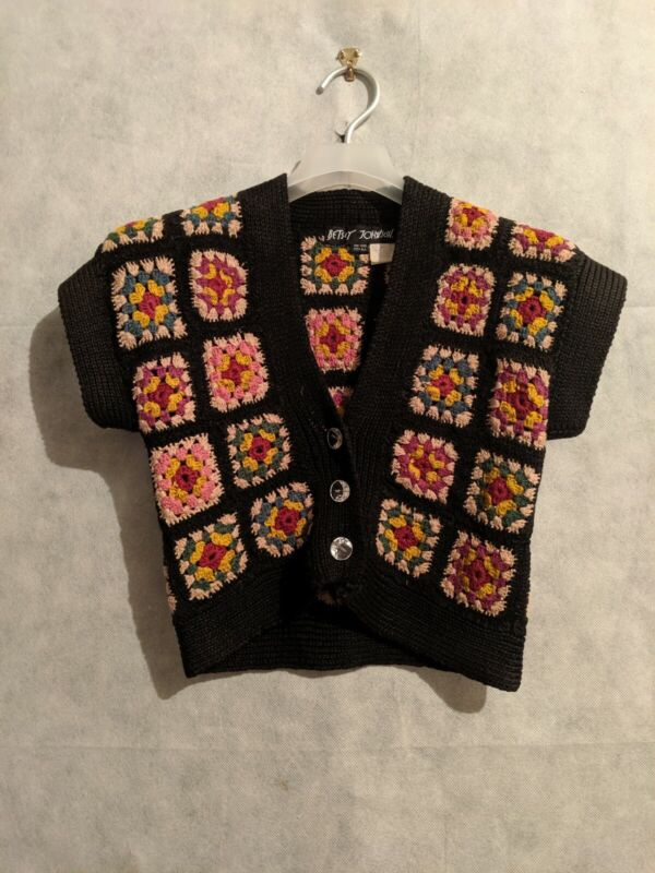 Betsey Johnson Vintage Archive 90s Crochet Floral Knit Cropped Cardigan OS