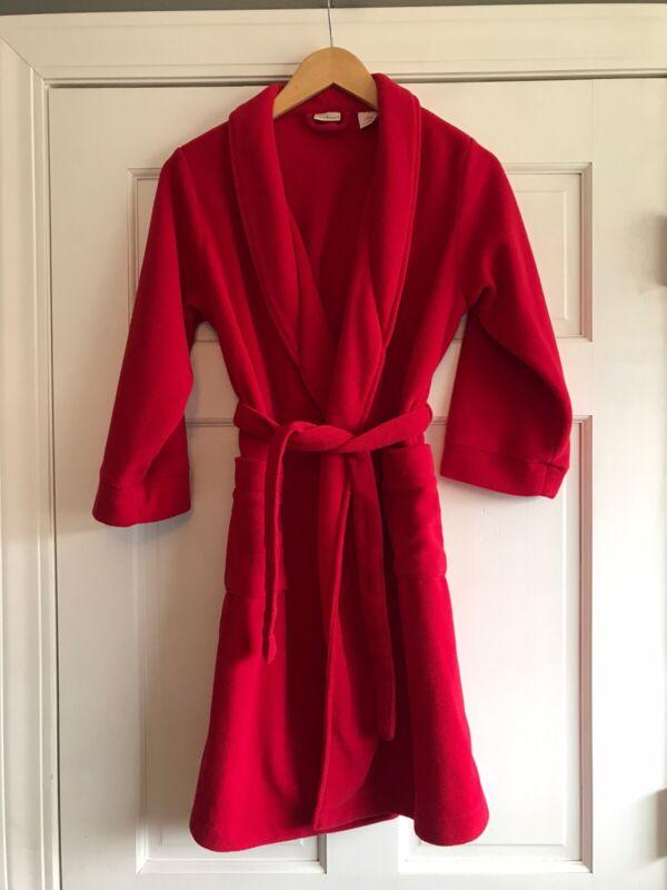 LL Bean Red Fleece Bath Robe Youth Kids Size Small 8