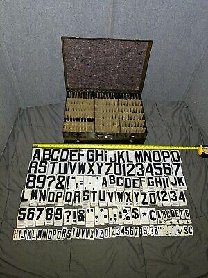 "MASSIVE Antique Vintage Unitype Hanging Sign 1350+ Letters 1.5"" 2.5"" 3"" Complete"