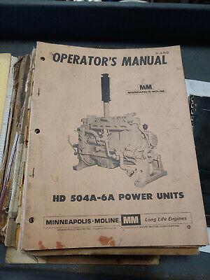Minneapolis Moline Hd 540a-6a Power Units Operator Manual S-485