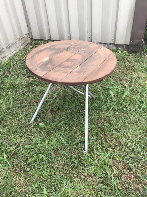Redwood Aluminum Porch Patio Side Table Round Folding