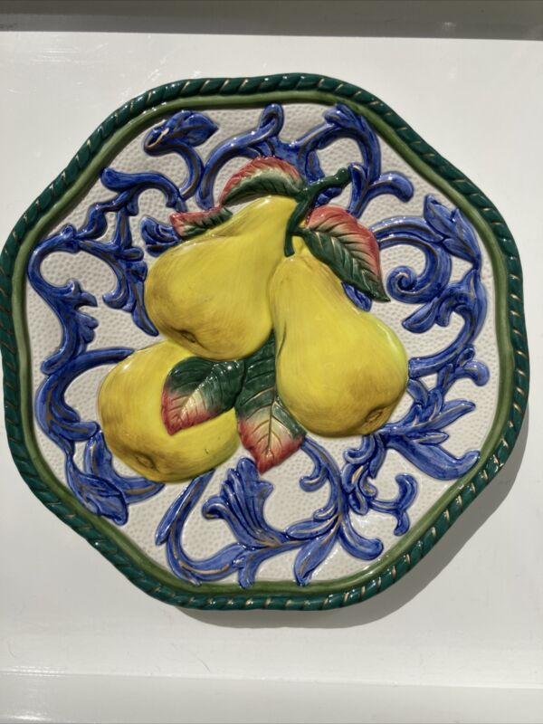 """FITZ AND FLOYD Classics 9"""" Florentine Fruit Decorative Plate - Pears"""