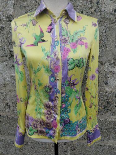 Chemise en soie jaune versace femme vintage fleurs oiseaux abeilles medusa
