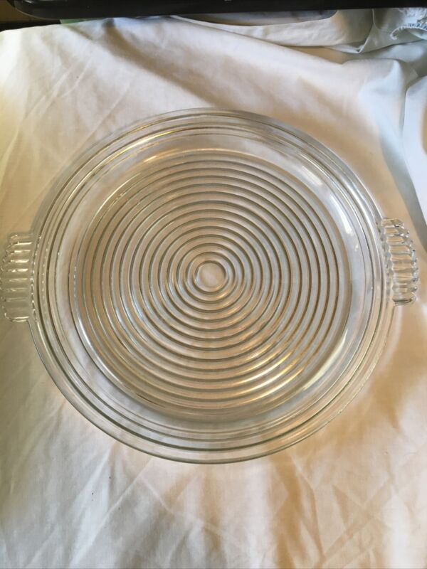 "Anchor Hocking Glass Clear Manhattan 16"" Handled Relish Platter Tray Cake Plate"