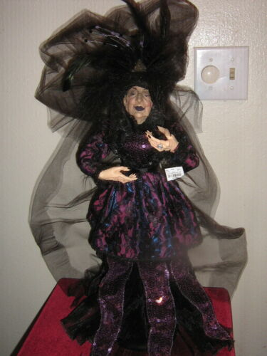 """STUNNING HIGH-END GRANDE DAME HALLOWEEN WITCH DOLL 25"""" NWT JEWELS SEQUINS  NWT"""