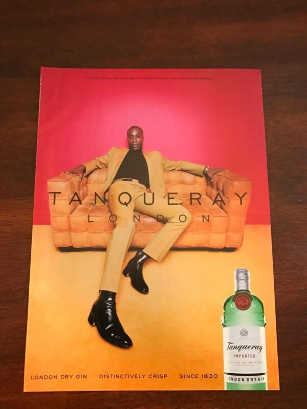 2000 VINTAGE 8X10.5 PRINT Ad FOR TANQUERAY GIN DESIGNER OZWALD BOATENG ADVERT