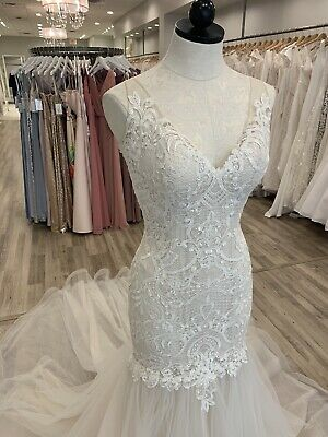 Maggie Sottero Wedding Gown Adaleine Antique Ivory Size 10 Lace Open Low Back