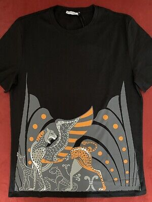 Versace Collection LEOPARD WITH WINGS Crew Neck T Shirt. L.