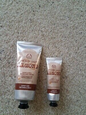 The Body Shop full size almond hand and nail cream 3.3 Oz Plus 1 oz
