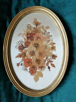 Vintage Dried Pressed Flower Art Signed By M R Scott In Gold Tone Oval Frame