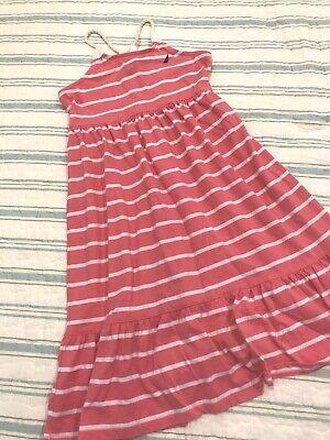 NAUTICA Girls size 4 Tank Dress Pink White Striped kids Rope Straps