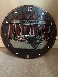 Beautiful New England Patriots stained glass clock