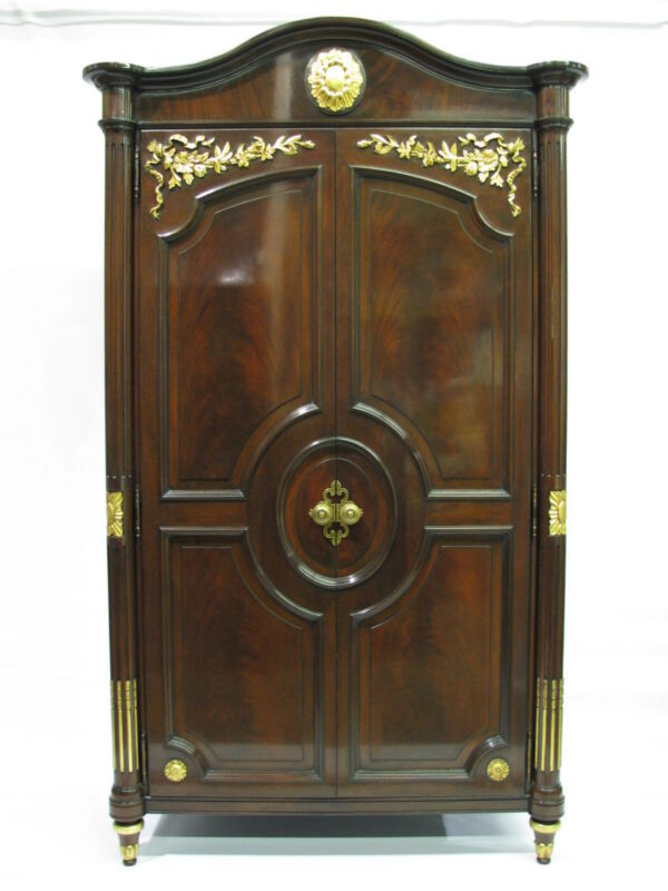 Exceptional Karges Louis XVI Mahogany Armoire, Gilt Accents; Handcarved Detail