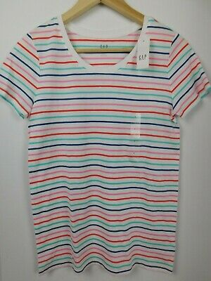 NWT GAP Women's Favorite Crew Neck T-Shirt White Striped X-Small NEW