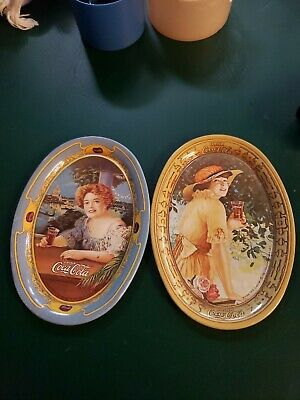 "A Pair Of Vintage 1973 Oval Coca Cola Lady Tin Tip Tray 1914 Small 6.2"" x 4.4"""