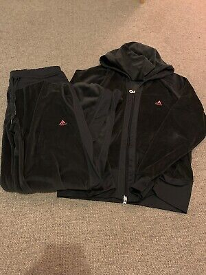 Adidas Black Velour Tracksuit