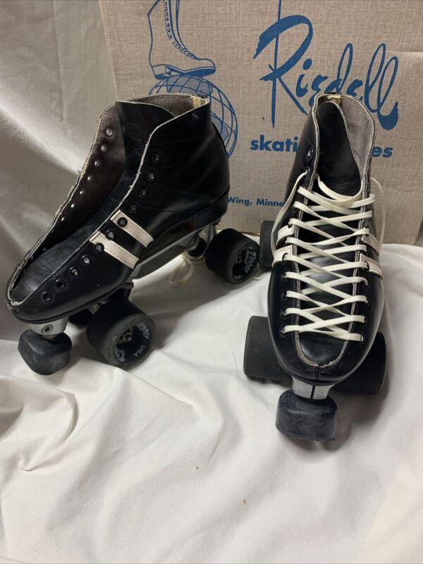 Vintage RIEDELL USA 122 Leather Roller Skates Sure Grip Invader 4L Sz 6