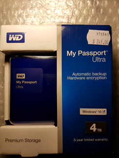 Brand new unopened 4 TB WD portable HDD_full warranty _invoice