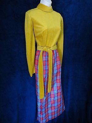 60's Vintage Mustard Plush Red Blue Plaid Taffeta Disco Mod Long Belt Maxi Dress