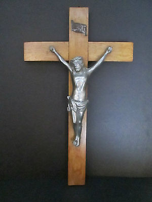 """18"""" by 10"""" Antique Altar Wall Hanging Wood Crucifix Cross Metal Corpus FRANCE"""