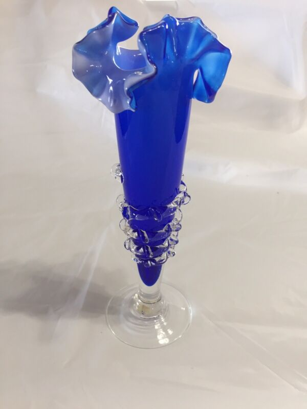 "HAND BLOWN COBOLT BLUE ART GLASS VASE W/OPALESCENT RUFFLE TOP APPLIED SPIRAL 9""H"