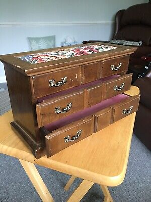 "Vintage Wooden Two Draw Jewellery Box 12""x 7.5"" x 5.25"""