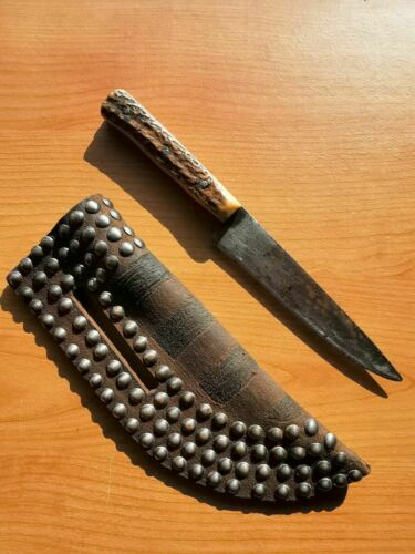 Indian Knife American native Antique 19th. C. Leather Studded Sheath Stag Handle