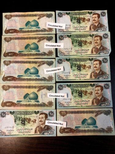 SADDAM HUSSEIN 1986 IRAQ IRAQI DINAR  BANKNOTE LOT ( 10 Nots ).