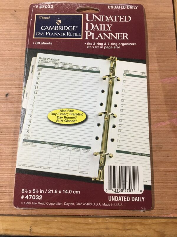 Mead Planner 47032 Refill Undated Daily Planner 30 Sheets Franklin Day Runner