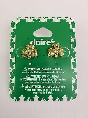 Claire's St Patricks Day Earrings Gold Glitter Shamrock Irish 3 Leaf Clover NIP - Glitter Shamrocks