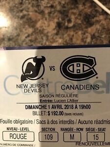Billets du Canadiens vs. Devils du New Jersey 1er avril 2018