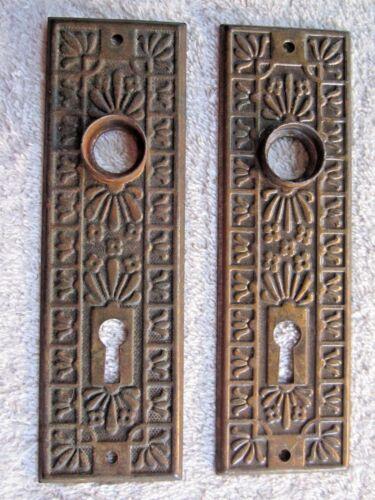 2 MATCHING ORNATE FANCY ANTIQUE VINTAGE DOOR KNOB BACKPLATES