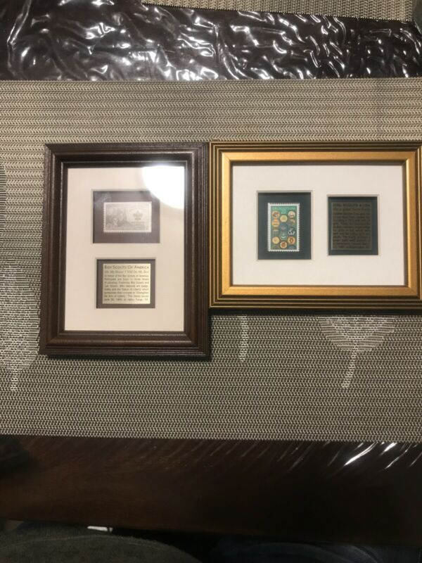 1950&1987 BOY SCOUTS & GIRL SCOUTS RARE STAPMS FRAMED WITH HISTORY CARD USPS COA