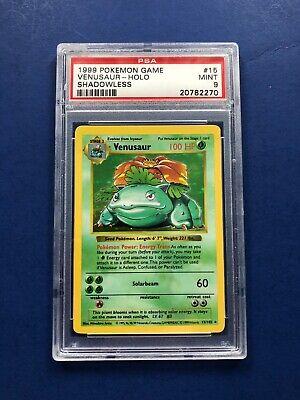 Pokemon Shadowless Venusaur PSA 9 Mint Holo Rare 15/102 Base Set card