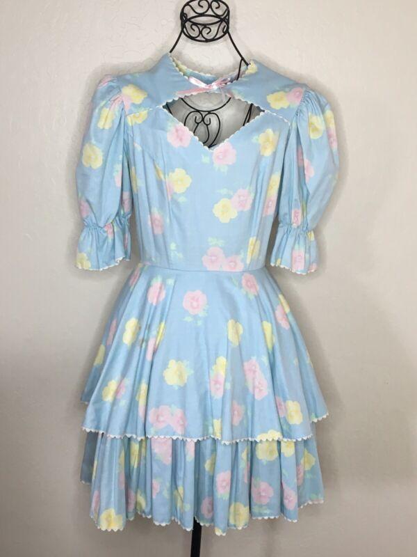 "Call It ""Fancy"" Vtg Square Dance Dress Sz 8 Floral Blue USA Made #168"