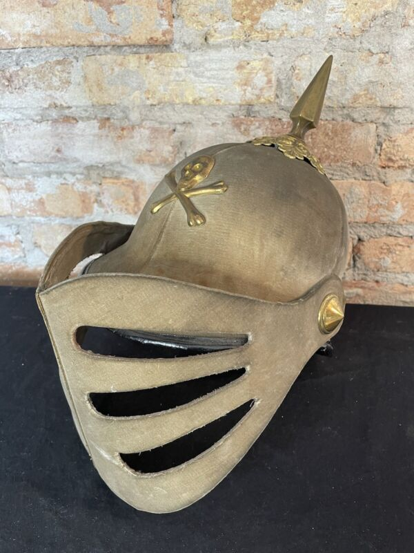 Vintage Odd Fellows Helmet Fraternal Skull and Bones Visor Hat Regalia 1900s WOW