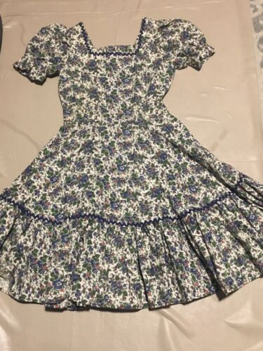 vtg custom made small floral print cotton square dance dress  SMALL