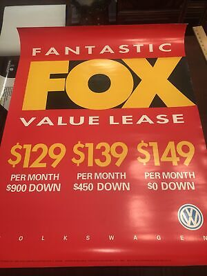 Vintage VW Volkswagen Showroom Advertising Poster Fox Value 1992