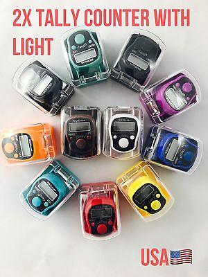 2X Electronic Digital Golf Finger Tally Counter Electronic Tasbih LED Backlit US