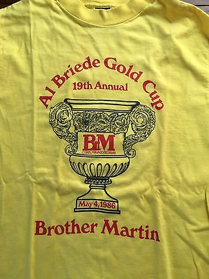 Vtg 1986 Al Briede Gold Cup Shirt Running BROTHER MARTIN HIGH SCHOOL CRUSADERS  image